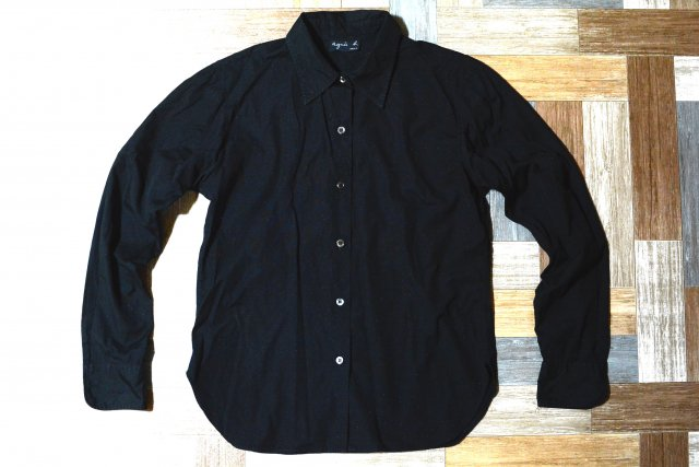 90's Vintage agnes b. プレーン シャツ ブラック (レディース古着)
