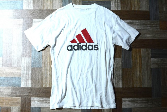 90's Vintage adidas パフォーマンス ロゴ Tシャツ ホワイト (メンズ古着)