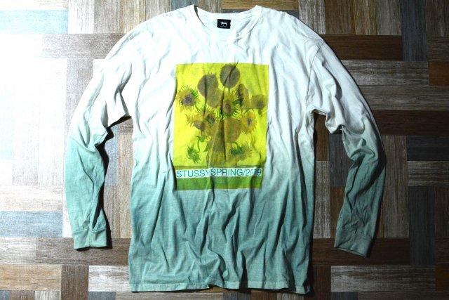 STUSSY グラデーション ひまわり 長袖 Tシャツ グリーン系 (メンズ古着)