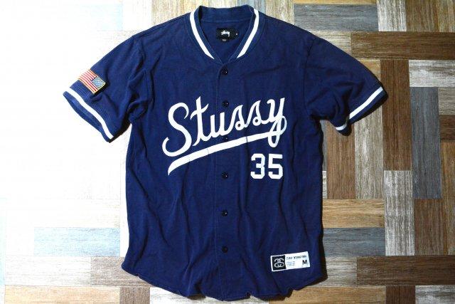 STUSSY ロゴ ベースボール シャツ ネイビー (メンズ古着)