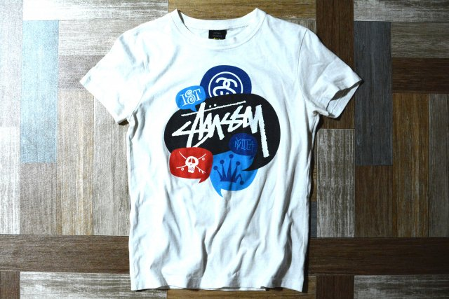 STUSSY USA製 グラフィック ロゴ Tシャツ ホワイト (レディース古着)