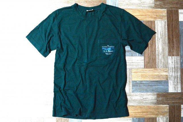 90's Vintage L.L.Bean カタディン ロゴ ポケット付き Tシャツ モスグリーン (メンズ古着)