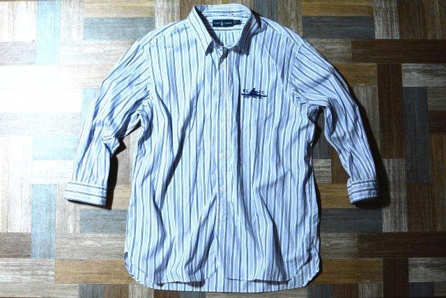 RALPH LAUREN ストライプ BD シャツ ホワイト×ネイビー×ライトブルー (メンズ古着)