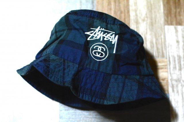 STUSSY ブラックウォッチ ロゴ バケットハット ネイビー×グリーン (USED&VINTAGE)