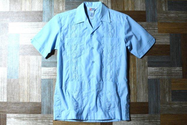 80〜90's Vintage ROMANI キューバ シャツ サックスブルー (メンズ古着)