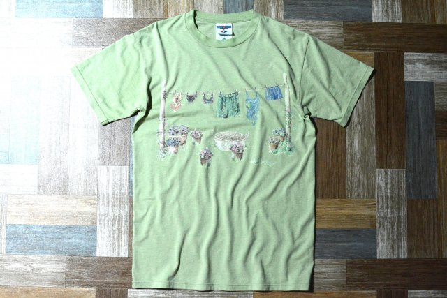 90's Vintage JERZEES USA製 ランドリー プリント Tシャツ グリーン系 (メンズ古着)