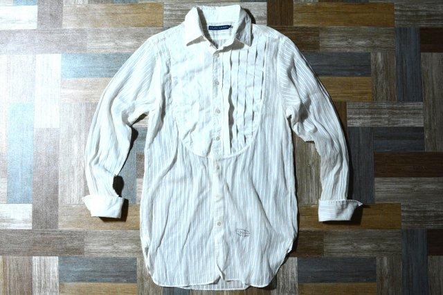 RALPH LAUREN プリーツ ドレス シャツ ホワイト (レディース古着)
