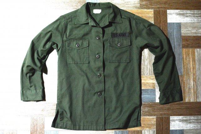 70's Vintage US ARMY ユーティリティ シャツ オリーブグリーン (レディース古着)