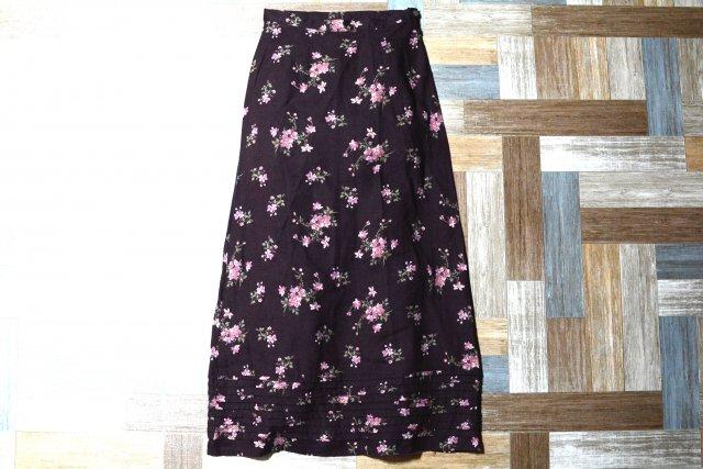 Vintage laura ashley イギリス製 花柄 ロング スカート バーガンディー (レディース古着)