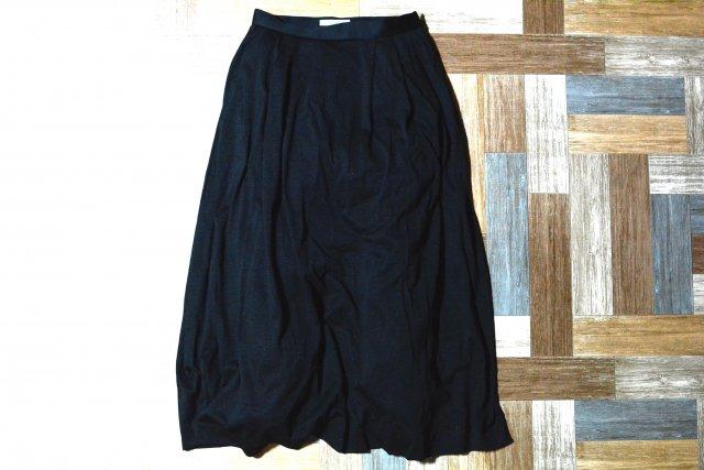 ツータック ロング スカート ブラック (レディース古着)