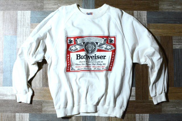 90's Vintage Budwiser ロゴ スウェット ホワイト (メンズ古着)
