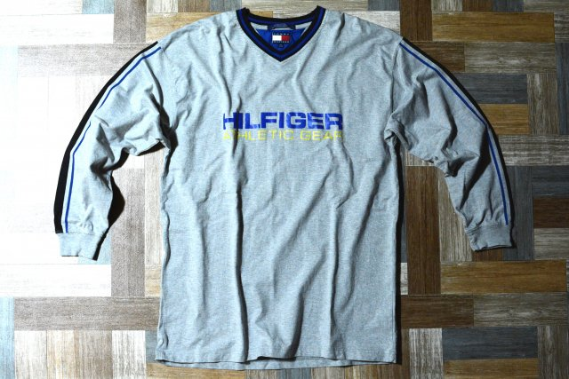 90's Vintage TOMMY HILFIGER Vネック ロゴ プリント 長袖 Tシャツ 杢グレー (メンズ古着)