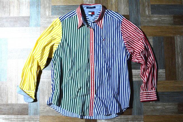 90's Vintage TOMMY HILFIGER クレイジーパターン ストライプ シャツ (レディース古着)