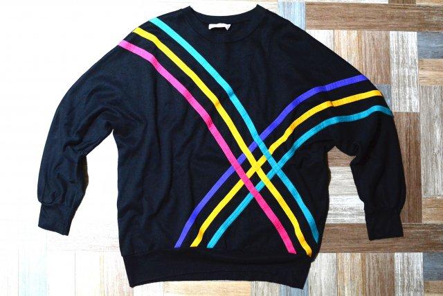 90's Vintage Young Stuff USA製 ドルマンスリーブ ネオンライン スウェット ブラック (メンズ古着)