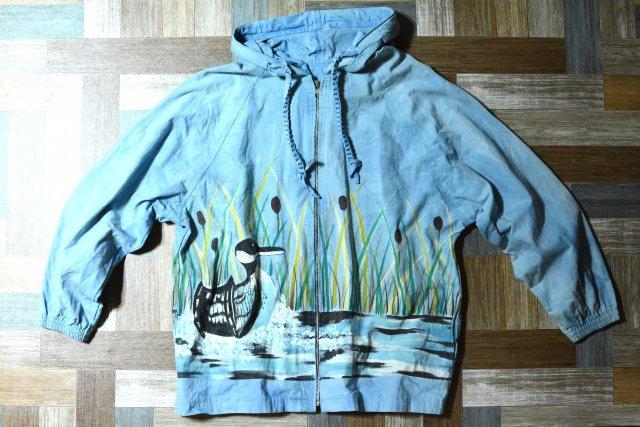 Vintage コットンキャンバス ダックプリント パーカー ライトブルー (メンズ古着)