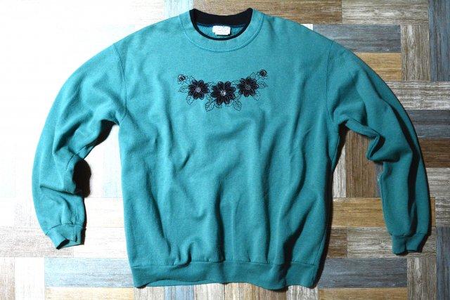 90's Vintage TOP STITCH by MORNING SUN 花柄 刺繍 スウェット エメラルドグリーン (レディース古着)