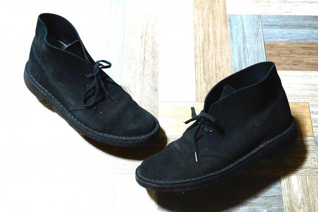 Clarks スエードレザー デザートブーツ ブラック (メンズ古着)