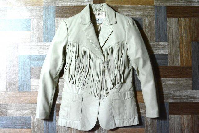 Vintage Scully レザー フリンジ 2B テーラード ジャケット アイボリー (レディース古着)