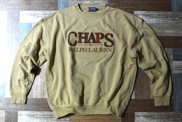 <img class='new_mark_img1' src='https://img.shop-pro.jp/img/new/icons7.gif' style='border:none;display:inline;margin:0px;padding:0px;width:auto;' />90's Vintage CHAPS RALPH LAUREN タータンチェック ロゴ スウェット モカ (メンズ古着)