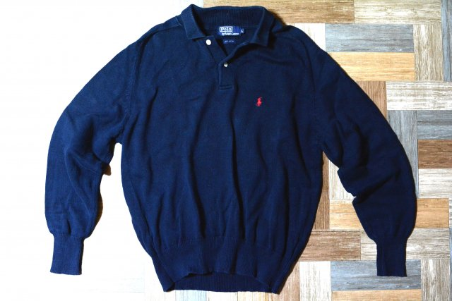 <img class='new_mark_img1' src='https://img.shop-pro.jp/img/new/icons15.gif' style='border:none;display:inline;margin:0px;padding:0px;width:auto;' />90's Vintage POLO RALPH LAUREN コットンニット 長袖 ポロシャツ ネイビー (メンズ古着)