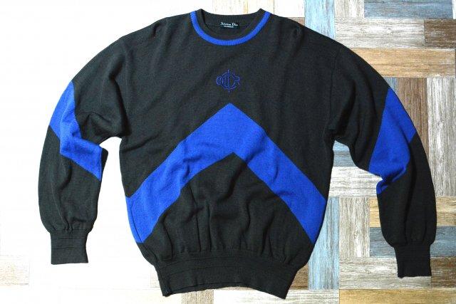 90's Vintage Christian Dior ウール ロゴ ニット セーター チャコール×ブルー (メンズ古着)