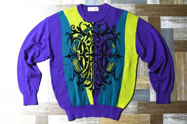 90's Vintage アクリル リネン デザイン ニット セーター パープル (メンズ古着)