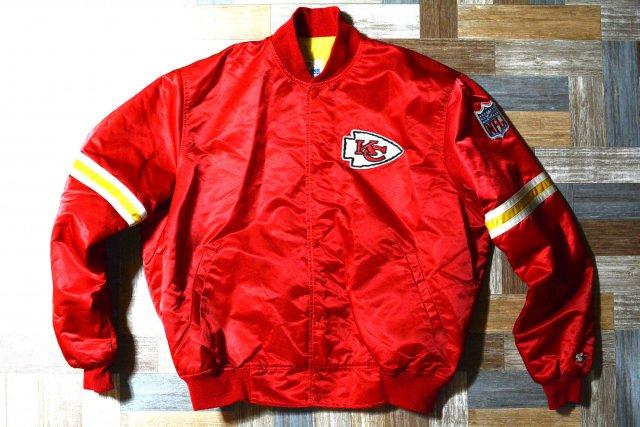 90's Vintage STARTER USA製 NFL カンザスシティ・チーフス ナイロン 中綿 スタジアム ジャケット レッド (メンズ古着)