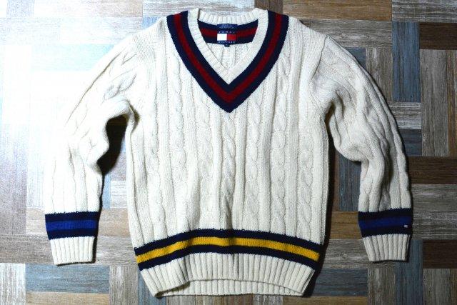 90's Vintage TOMMY HILFIGER ウール チルデン ニット セーター オフホワイト (メンズ古着)