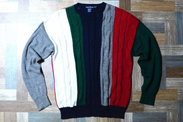 90's Vintage nautica マルチ ストライプ コットン ニット セーター ネイビーベース (メンズ古着)