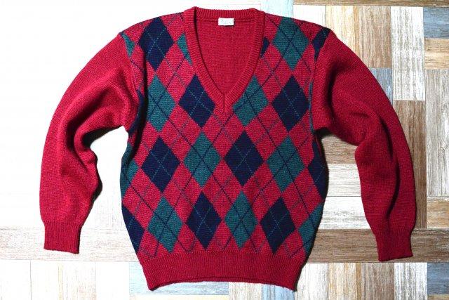 90's Vintage ARNOLD PALMER アーガイル Vネック ニット セーター バーガンディー 160サイズ (キッズ古着)
