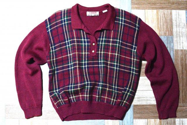 90's Vintage McGREGOR ウール タータンチェック 襟付き ニット セーター ワインレッド (レディース古着)