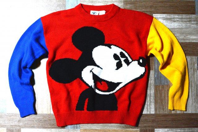 90's Vintage Mickey&Co. ミッキーマウス クレイジーカラー ニット セーター (レディース古着)