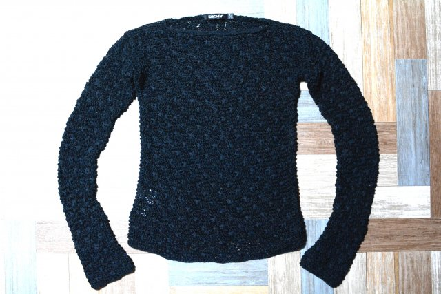 DKNY コットン ネット編み ニット セーター ブラック (レディース古着)