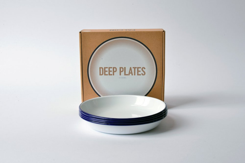 ENAMEL DEEP PLATE SET - WHITE