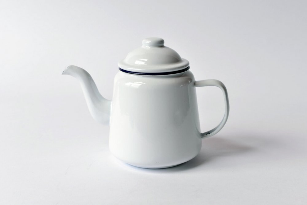 ENAMEL TEA POT - WHITE