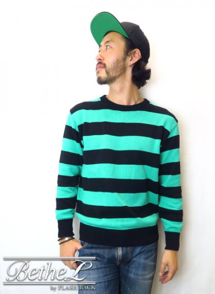 O.C CREW/オーシークルー STRIPED COTTON KNIT GREEN