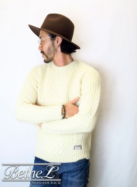 NAKED SUN/ネイキッドサン 3G FISHERMAN SWEATER WHITE