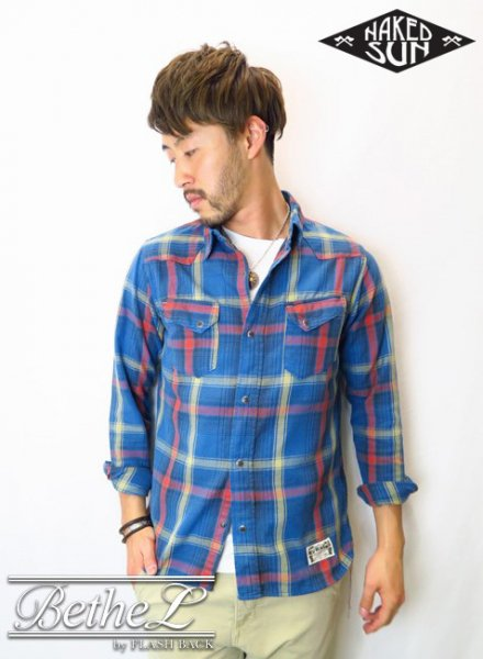 NAKED SUN/ネイキッドサン 27MW WESTERN CHECK SHIRTS BLUE