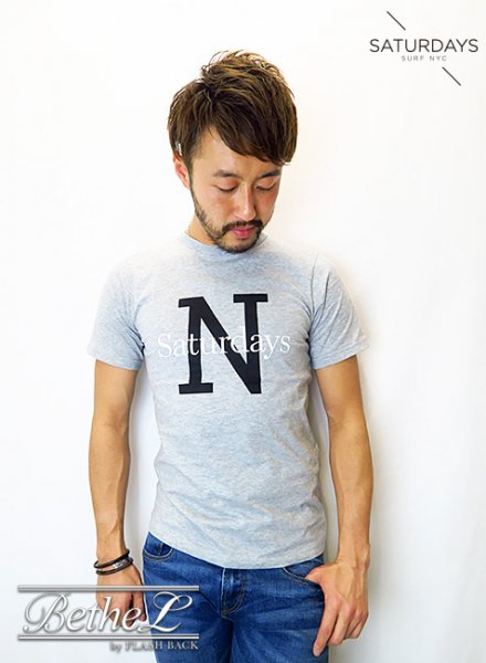 SATURDAYS NEW YORK CITY/サタデーズニューヨークシティ NY OVERLAY TEE ASH HEATHER