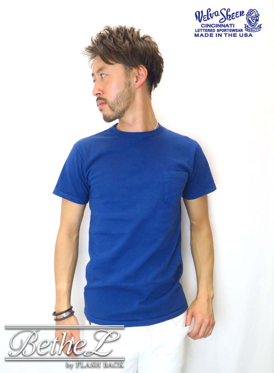 VELVA SHEEN/ベルバシーン POCKET CREW NECK T-SHIRT LIGHT INDIGO