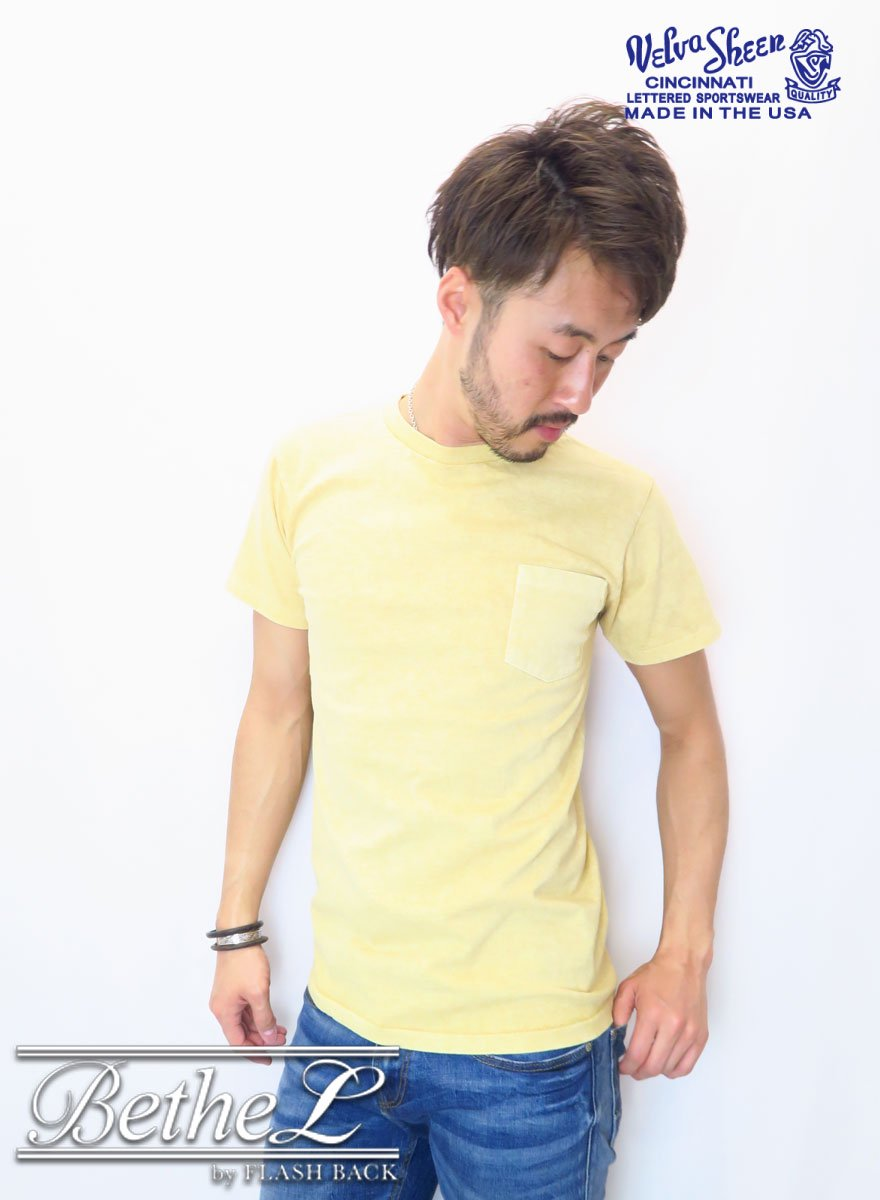 VELVA SHEEN/ベルバシーン POCKET CREW NECK T-SHIRT YELLOW