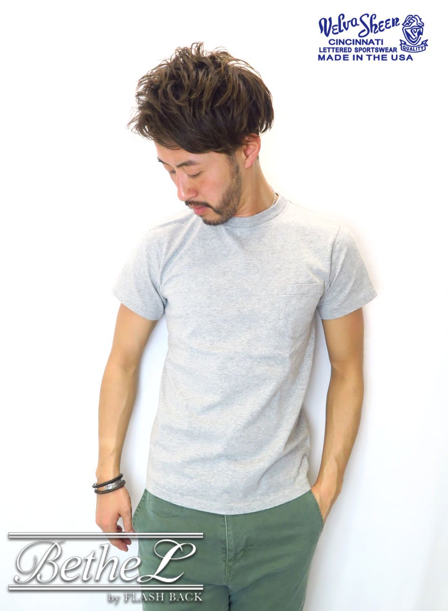 VELVA SHEEN/ベルバシーン POCKET CREW NECK T-SHIRT GRAY