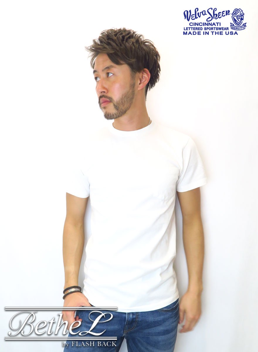 VELVA SHEEN/ベルバシーン POCKET CREW NECK T-SHIRT WHITE