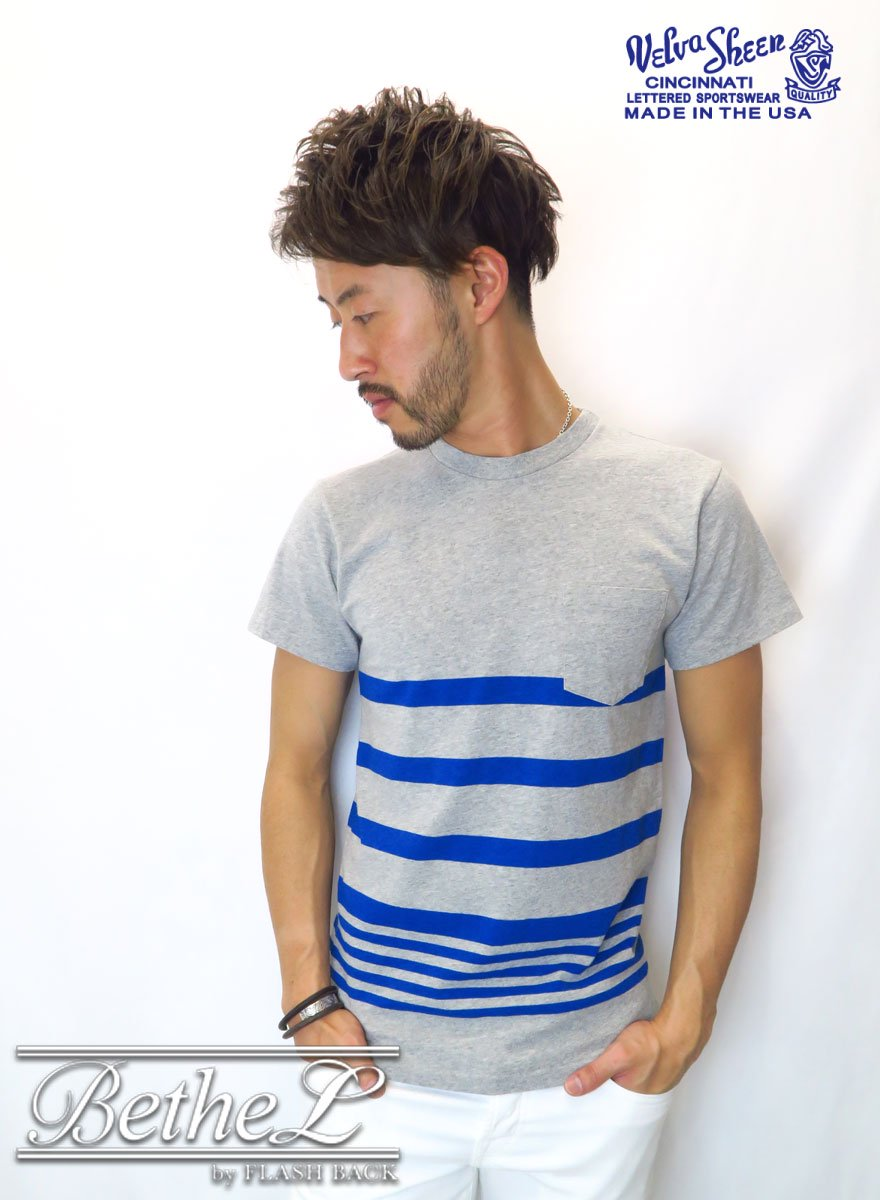 VELVA SHEEN/ベルバシーン VINTAGE MARINE  NARROW WAVE BORDER POCKET CREW NECK T-SHIRT GRAY