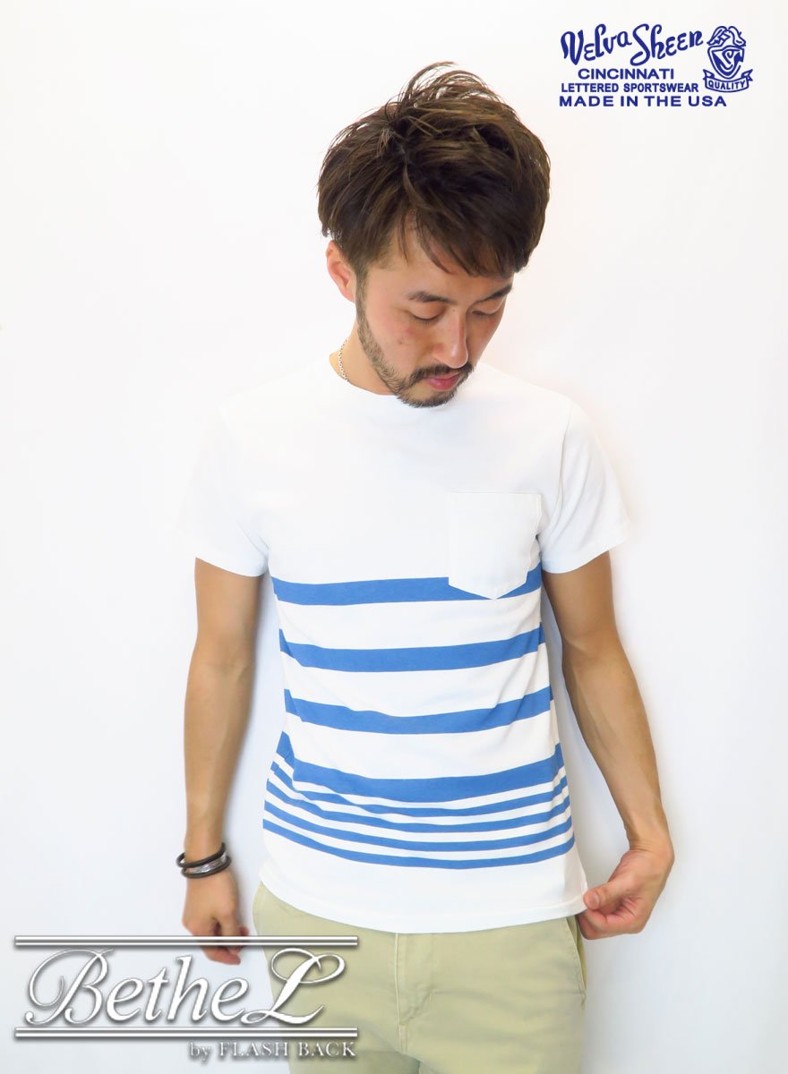 VELVA SHEEN/ベルバシーン VINTAGE MARINE  NARROW WAVE BORDER POCKET CREW NECK T-SHIRT WHITE