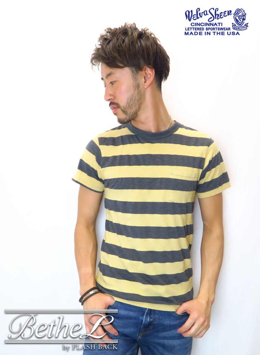 VELVA SHEEN/ベルバシーン BIG STRIPE POCKET CREW NECK T-SHIRT MUSTARD