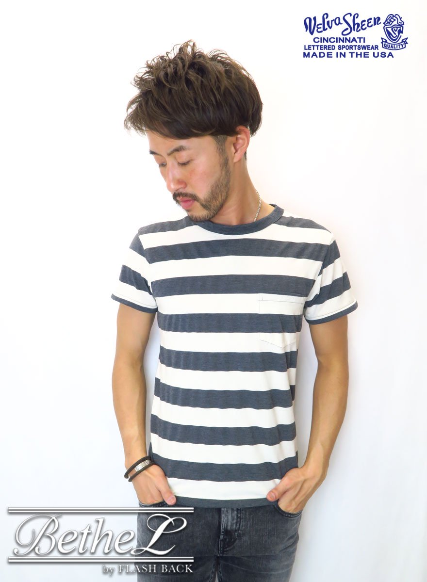 VELVA SHEEN/ベルバシーン BIG STRIPE POCKET CREW NECK T-SHIRT WHITE