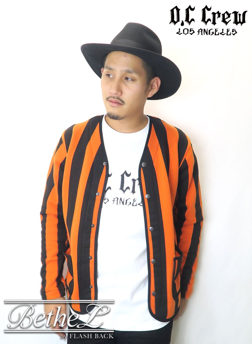 O.C CREW/オーシークルー  STRIPED CARDIGAN ORANGE