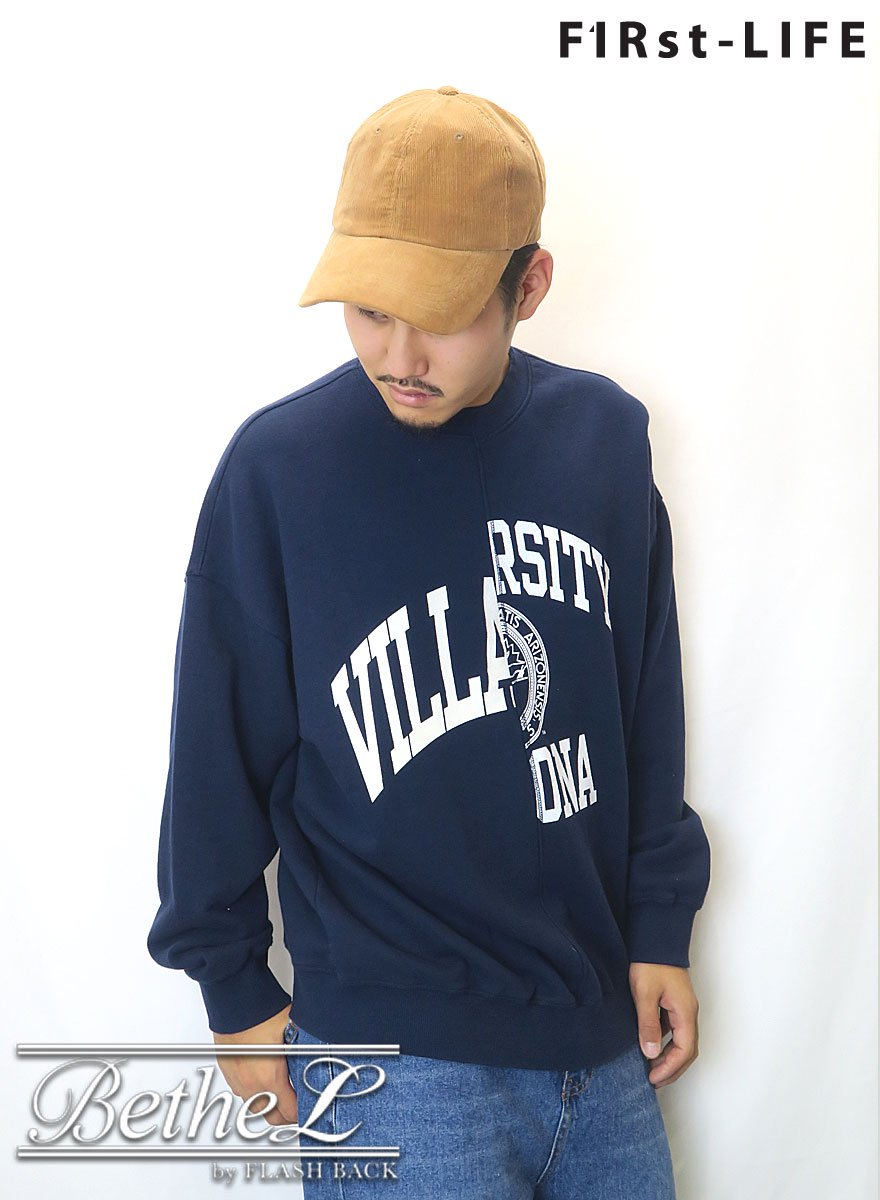 F1Rst LIFE/ファーストライフ DOCKING PRINT SWEAT NAVY