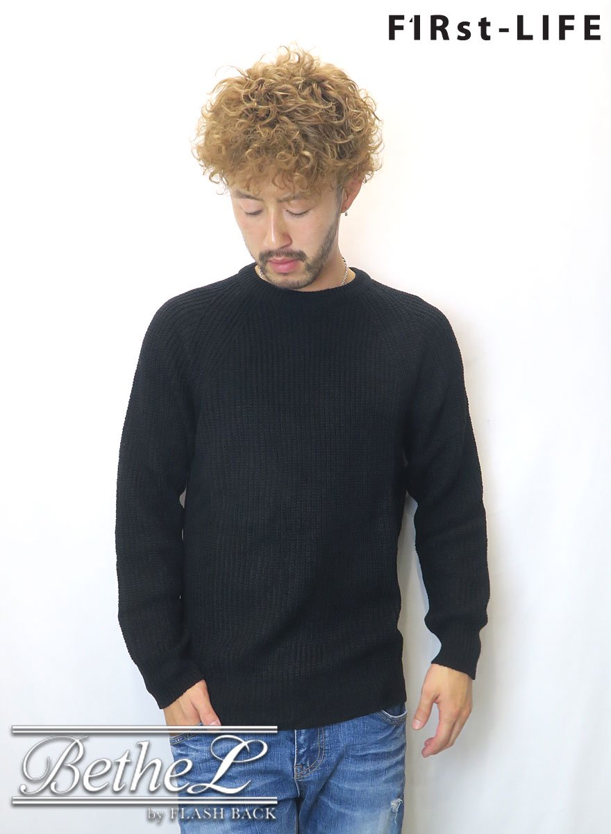 F1Rst LIFE/ファーストライフ CREW NECK COLLAR KNIT BLACK